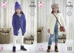 King Cole 5166 Knitting Pattern Girls Cable Jackets / Cardigans and Hat in King Cole Comfort Chunky
