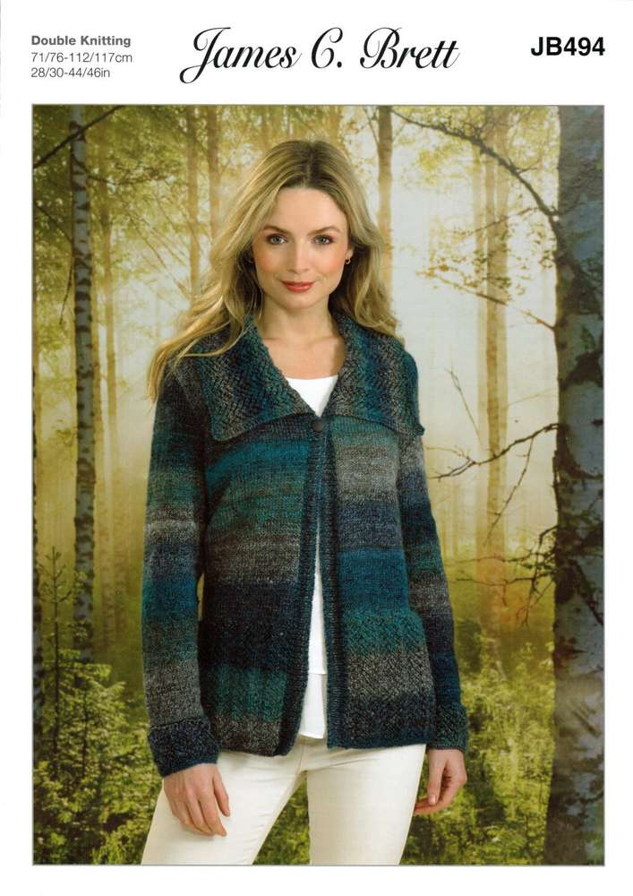 d7fb6b736 James C Brett JB494 Knitting Pattern Womens Jacket   Cardigan in James C  Brett Landscape DK - Athenbys