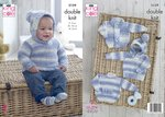 King Cole 5159 Knitting Pattern Baby Sweaterw and Jacket in King Cole Drifter For Baby DK