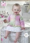King Cole 5141 Knitting Pattern Baby Child Cardigans and Dress in King Cole Melody DK