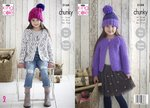 King Cole 5168 Knitting Pattern Girls Easy Knit Raglan Cardigans and Hat in Comfort Chunky