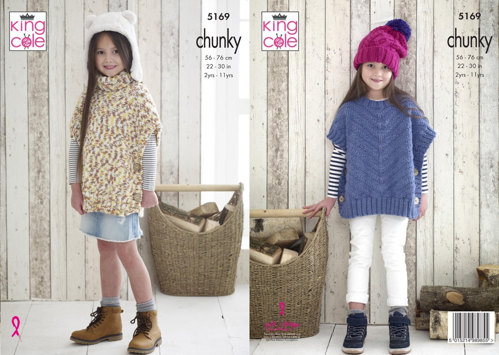 King Cole 5169 Knitting Pattern Girls Ponchos and Hat in Comfort Chunky and  Comfort Multi Chunky