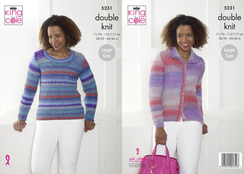 14defdedf King Cole 5231 Knitting Pattern Womens Sweater and Cardigan in King Cole  Sprite DK - Athenbys
