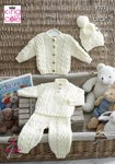 King Cole 5222 Knitting Pattern Baby Sweater Cardigan Trousers and Hat in King Cole Comfort Aran