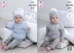 King Cole 5255 Knitting Pattern Baby Child Sweaters and Hats in Big Value Baby DK