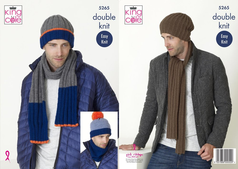 King Cole 5265 Knitting Pattern Mens Scarf Snood And Hats In King