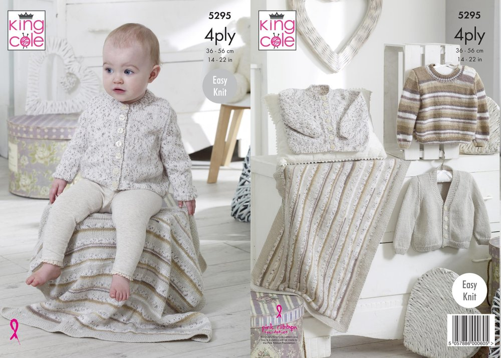 e3794e60f King Cole 5295 Knitting Pattern Baby Easy Knit Cardigans Sweater and ...