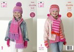 King Cole 5263 Knitting Pattern Childrens Girls Scarves Helmets Mitts in King Cole Big Value DK