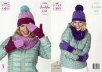 King Cole 5264 Knitting Pattern Womens Snoods Hats and Mitts in King Cole Big Value DK