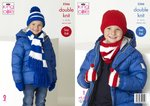 King Cole 5266 Knitting Pattern Childrens Football Scarf Snood Hats Mitts in King Cole Big Value DK