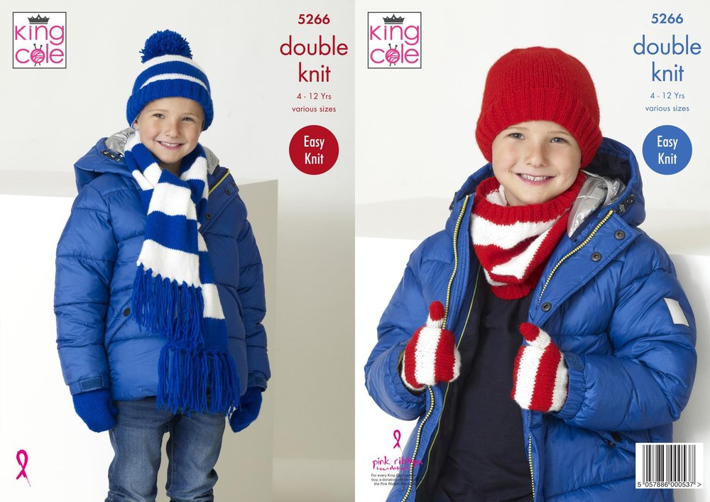 King Cole 5266 Knitting Pattern Childrens Football Scarf Snood Hats