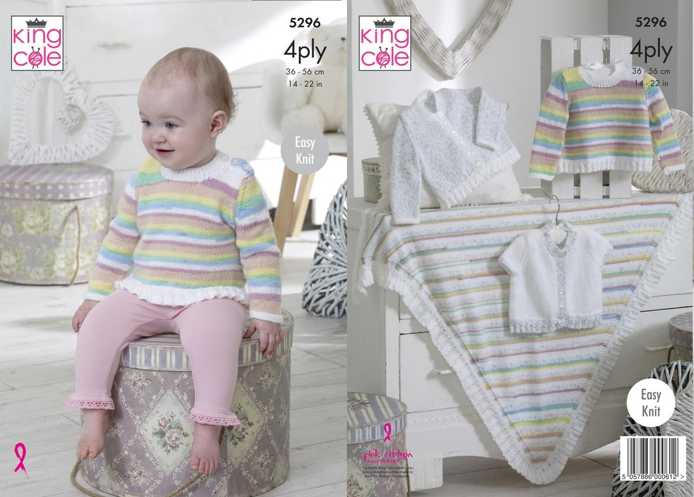 8625cb5cfb6c King Cole 5296 Knitting Pattern Baby Easy Knit Cardigans Sweater and ...