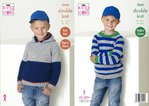 King Cole 5260 Knitting Pattern Boys Raglan Hoodie and Sweater in King Cole Big Value DK