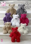 King Cole 9101 Knitting Pattern Childrens Teddy Bear Toys in King Cole Tufty Super Chunky