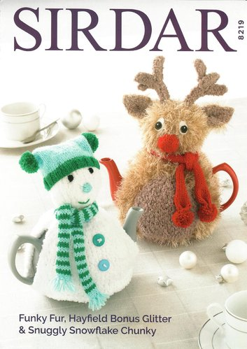 Sirdar 8219 Knitting Pattern Snowman and Rudolph Teacosies  in Bonus Glitter DK & Funky Fur