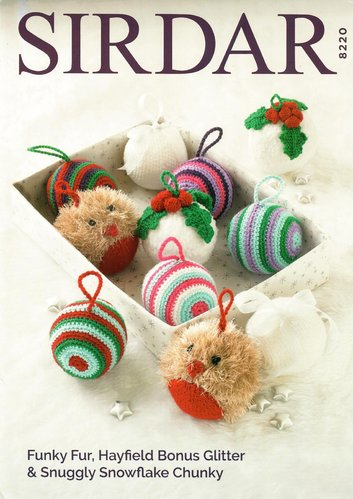 Sirdar 8220 Knitting Crochet Pattern Christmas Decorations Baubles in Bonus Glitter DK & Funky Fur