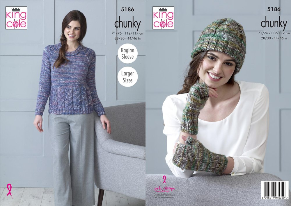 bb7f47428 King Cole 5186 Knitting Pattern Womens Sweater Hat and Fingerless Mitts in  King Cole Shadow Chunky