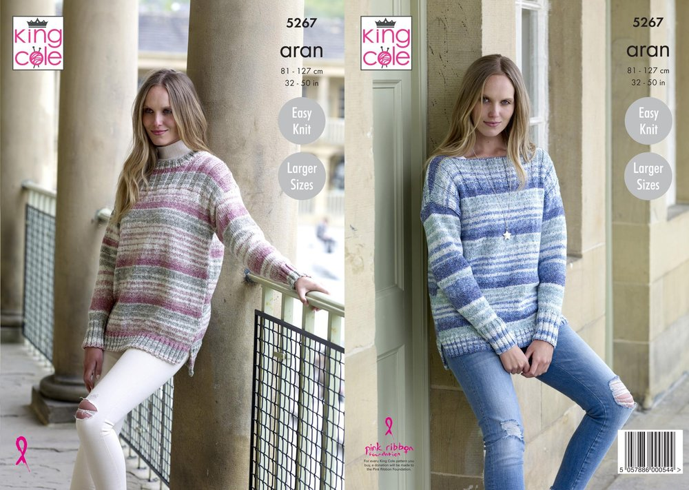King Cole 5267 Knitting Pattern Womens Round and Boat Neck Sweaters ...
