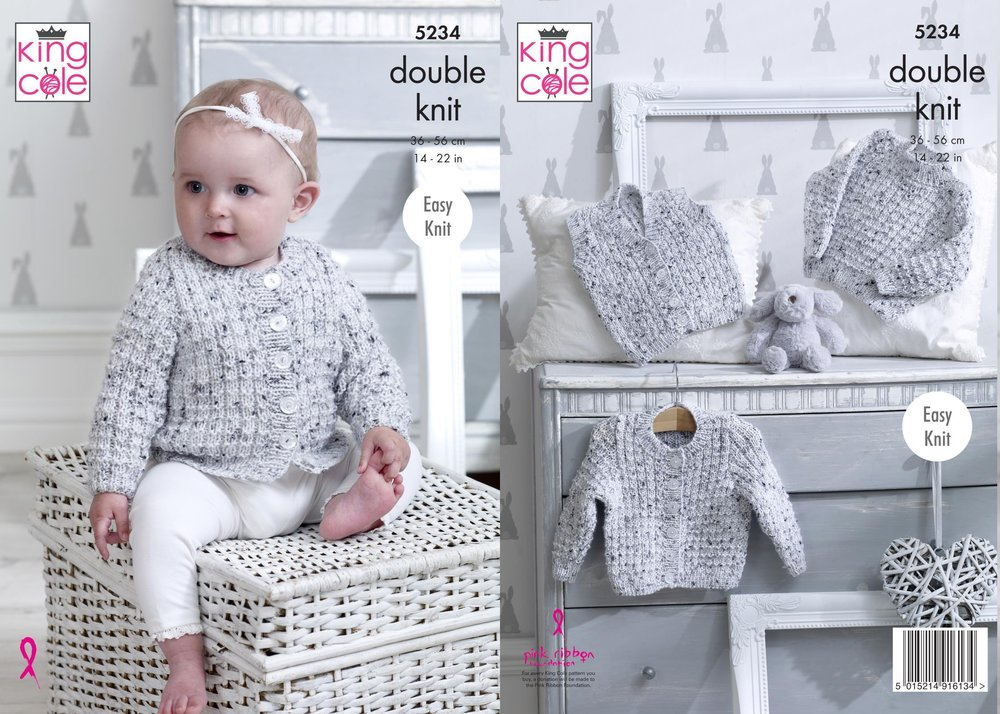 f4e63df30ff00b King Cole 5234 Knitting Pattern Baby Sweater Cardigan and Waistcoat in King  Cole Smarty DK - Athenbys