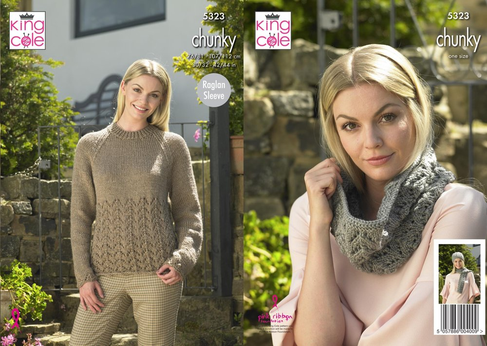 777735cd1 King Cole 5333 Knitting Pattern Womens Sweater Hat Scarf and Cowl in King  Cole Big Value Chunky
