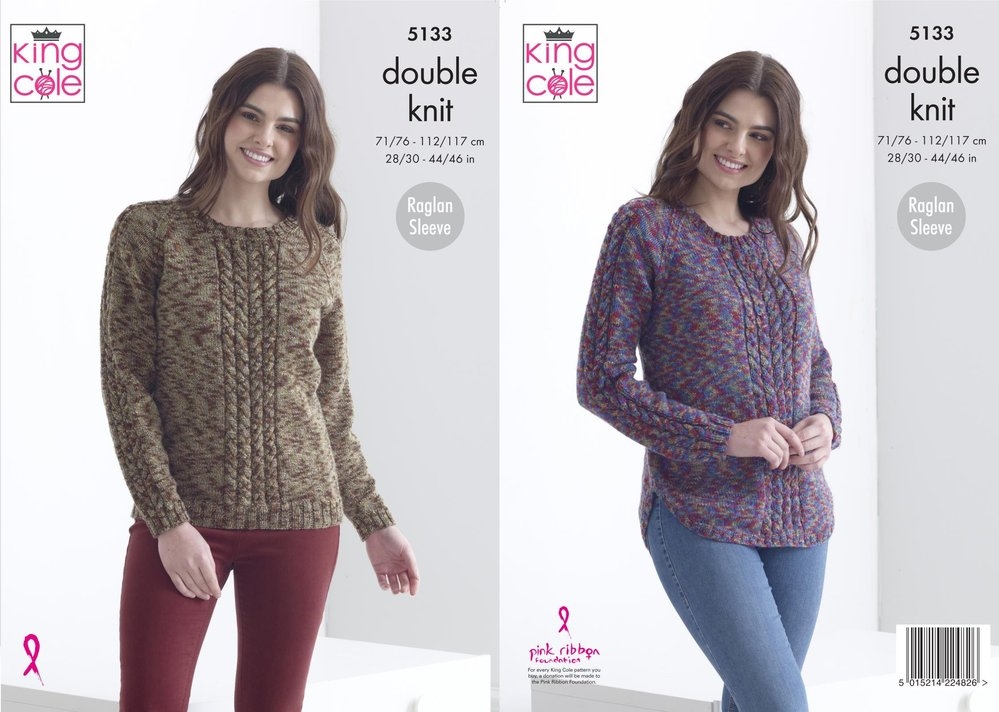 b4c79fc84 King Cole 5133 Knitting Pattern Womens Raglan Cable Sweaters in King Cole  Meadow DK - Athenbys