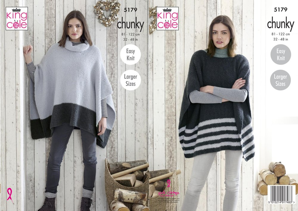 King Cole 5179 Knitting Pattern Womens Easy Knit Ponchos In King