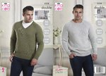 King Cole 5228 Knitting Pattern Mens V Neck and Round Neck Sweaters in King Cole Majestic DK