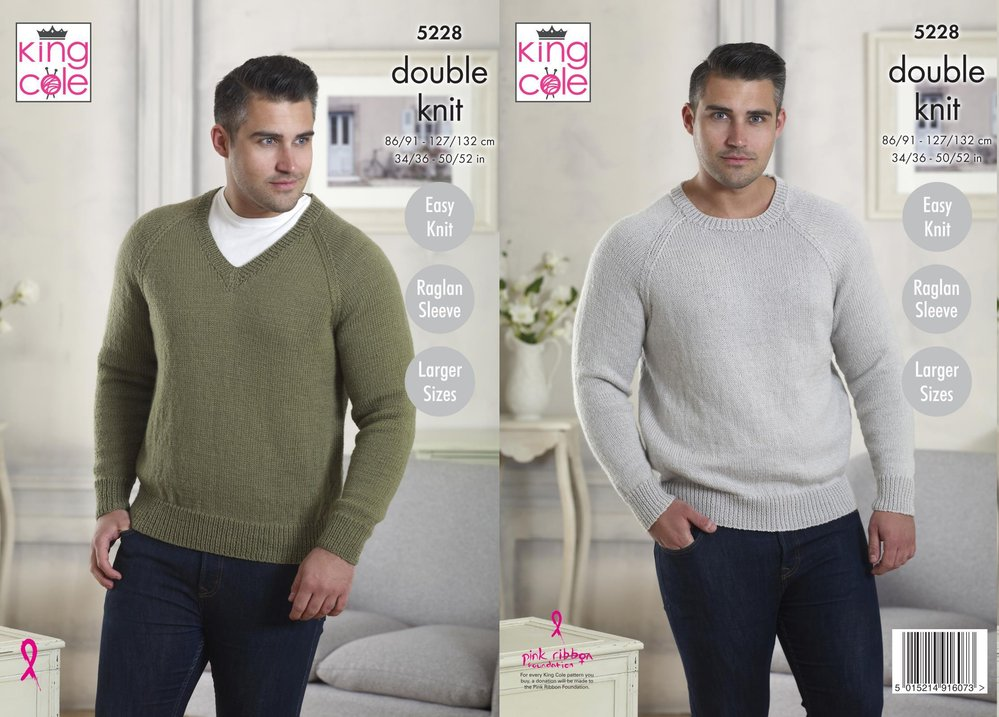 72d753ef50a7e9 King Cole 5228 Knitting Pattern Mens V Neck and Round Neck Sweaters in King  Cole Majestic DK - Athenbys