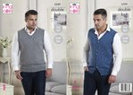King Cole 5229 Knitting Pattern Mens V Neck Waistcoat and Tank Top in King Cole Majestic DK
