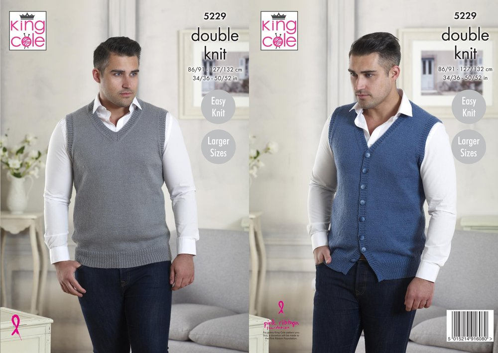 d086cfdb620e17 King Cole 5229 Knitting Pattern Mens V Neck Waistcoat and Tank Top in King  Cole Majestic DK - Athenbys