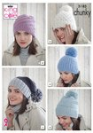 King Cole 5185 Knitting Pattern Womens Hats in King Cole Timeless Chunky