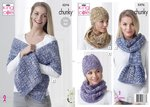 King Cole 5276 Knitting Pattern Womens Scarf Wrap Hats and Cowl in King Cole Big Value Tonal Chunky
