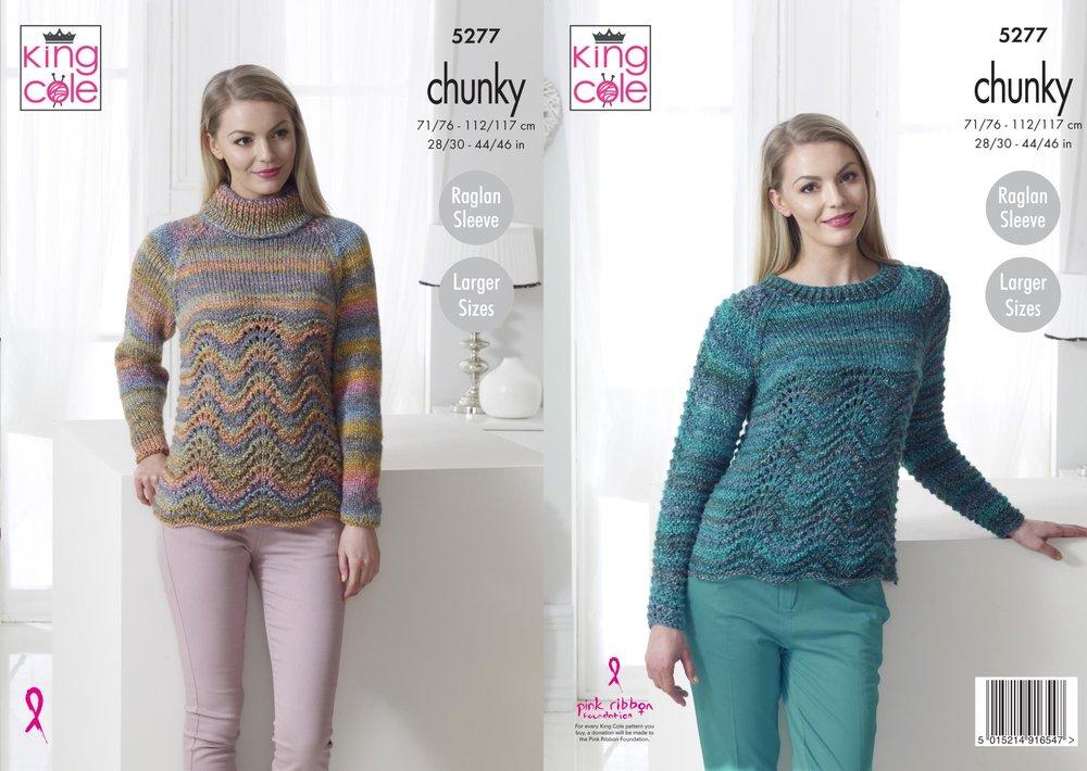 5b4e01543a88 King Cole 5277 Knitting Pattern Womens Raglan Sweaters in King Cole Corona  Chunky - Athenbys