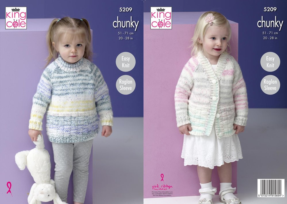 78cc97f05435 King Cole 5209 Knitting Pattern Childrens Raglan Sweater and Cardigan in  Comfort Cheeky Chunky - Athenbys