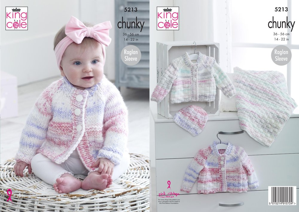 413c8857d King Cole 5213 Knitting Pattern Baby Cardigans Hat and Blanket in Comfort  Cheeky Chunky - Athenbys