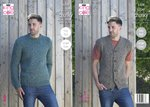 King Cole 5308 Knitting Pattern Mens Waistcoat and Sweater in Big Value Super Chunky Stormy