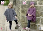 King Cole 5292 Knitting Pattern Girls Tabbard / Poncho and Hat in King Cole Chunky Tweed