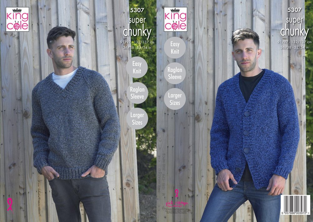 dcfe416df King Cole 5307 Knitting Pattern Mens V Neck Cardigan and Sweater in Big  Value Super Chunky Stormy - Athenbys