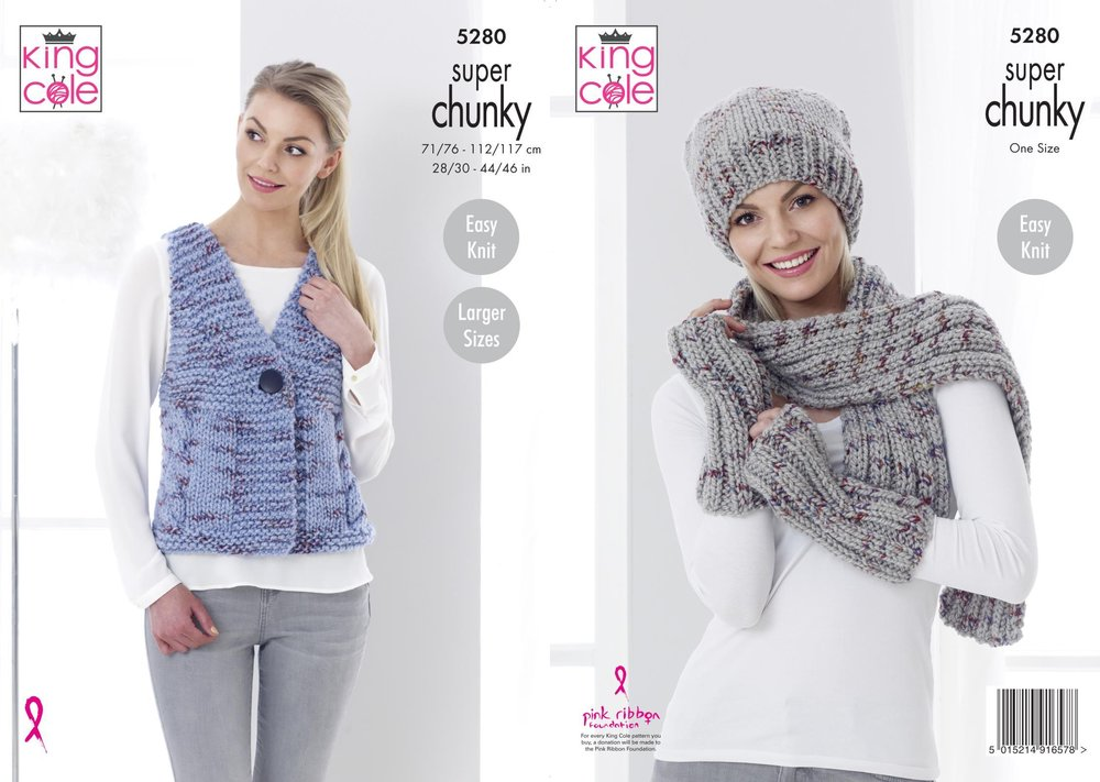 King Cole 5280 Knitting Pattern Womens Waistcoat and Accessories in ...