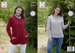 King Cole 5298 Knitting Pattern Womens Jacket / Cardigan and Sweater in King Cole Big Value Aran