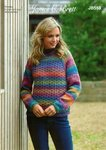 James C Brett JB553 Knitting Pattern Womens Sweater Jumper in James C Brett Marble Chunky