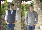 King Cole 5366 Knitting Pattern Mens Waistcoat and Sweater in King Cole Majestic DK
