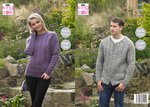 King Cole 5345 Knitting Pattern Mens Womens Sweater Cardigan in King Cole Fashion Aran