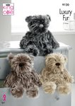 King Cole 9120 Knitting Pattern Luxury Fur Teddy Bears in King Cole Luxury Fur