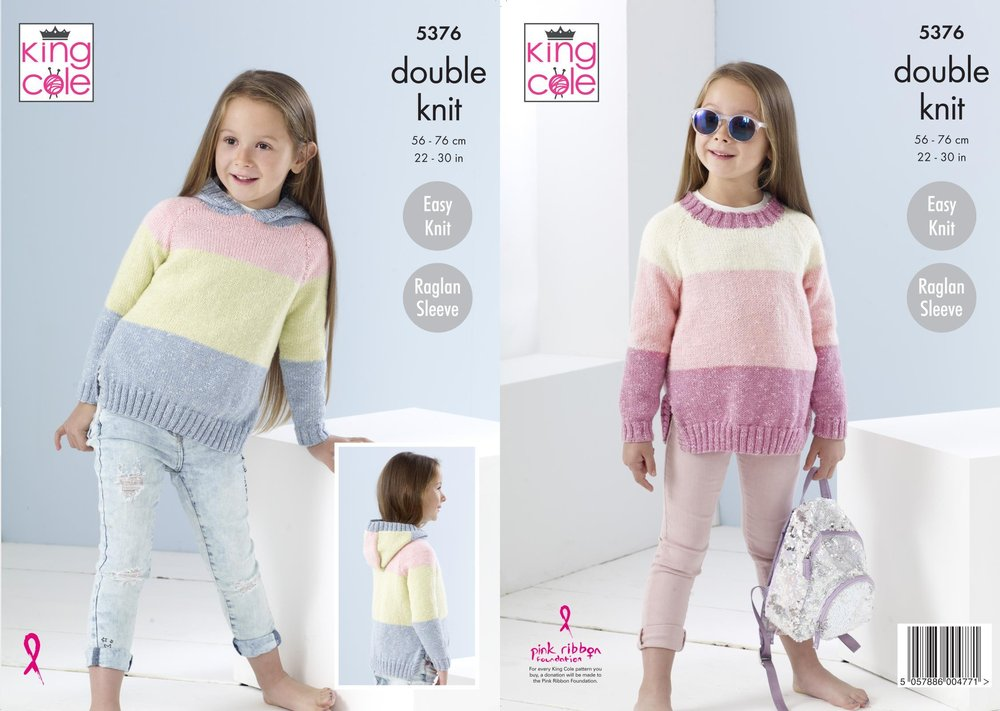 dd6b44a583e8 King Cole 5376 Knitting Pattern Childrens Easy Knit Sweater and ...