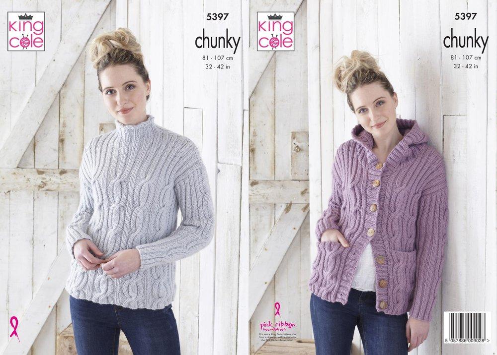Womens Raglan Sleeve Jumpers /& Cardigan Chunky Knitting Pattern King Cole 5286