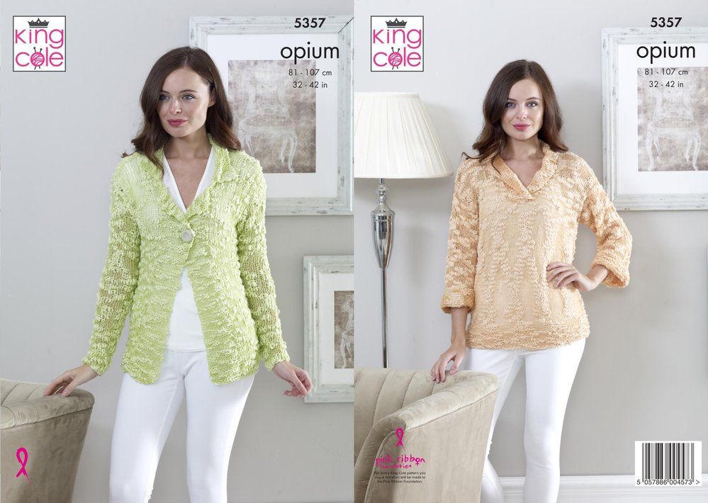 ede093f94 King Cole 5357 Knitting Pattern Womens Cardigan and Sweater in King Cole  Opium or Opium Palette - Athenbys