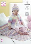King Cole 5420 Knitting Pattern Baby Childrens Cardigan Hat and Blanket in King Cole Beaches DK