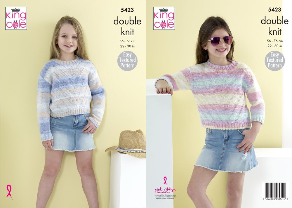 King Cole 5423 Knitting Pattern Girls Easy Textured Pattern Sweaters  Jumpers in King Cole Beaches DK