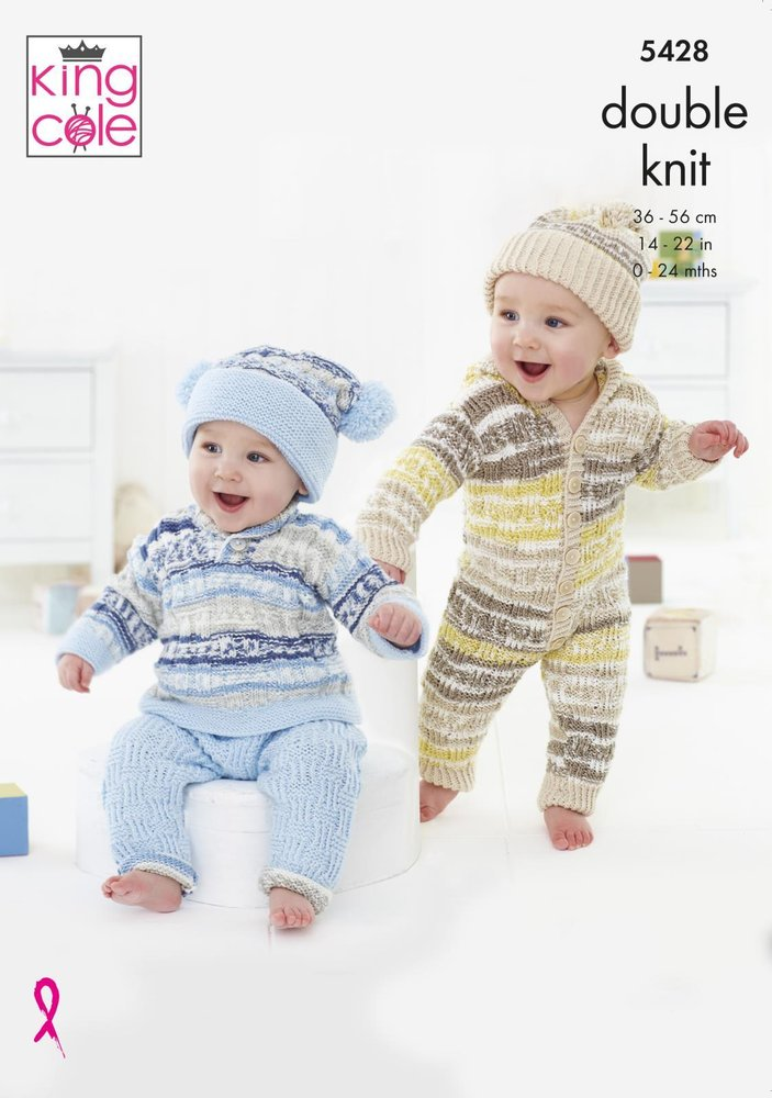 Dress /& Sweater Comfort Knitting Pattern 3353 DK King Cole Baby Cardigan